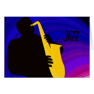 Silhouette of a jazz player, blue & purple card