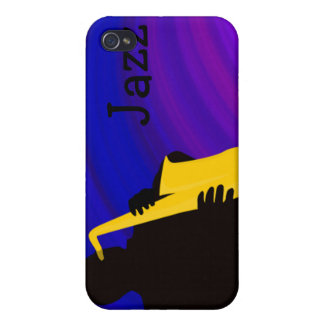 Silhouette of a jazz player, blue & purple case for iPhone 4