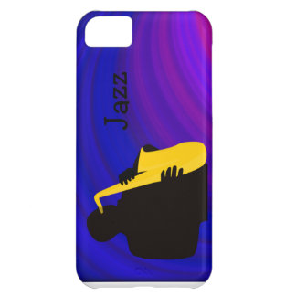 Silhouette of a jazz player, blue & purple cover for iPhone 5C
