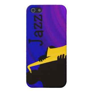 Silhouette of a jazz player, blue & purple cover for iPhone SE/5/5s