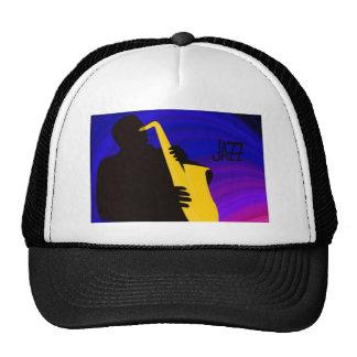 Silhouette of a jazz player, blue & purple trucker hat