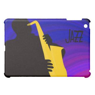 Silhouette of a jazz player, blue & purple iPad mini cases