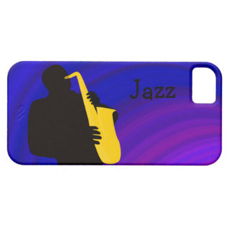 Silhouette of a jazz player, blue & purple iPhone SE/5/5s case
