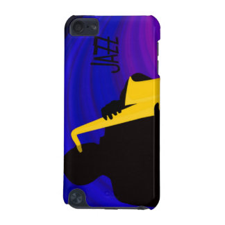 Silhouette of a jazz player, blue & purple iPod touch 5G cover