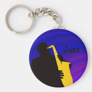 Silhouette of a jazz player, blue & purple keychain