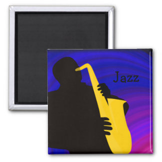 Silhouette of a jazz player, blue & purple 2 inch square magnet