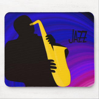 Silhouette of a jazz player, blue & purple mouse pad