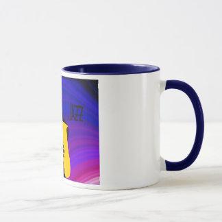 Silhouette of a jazz player, blue & purple mug