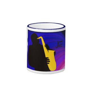 Silhouette of a jazz player, blue & purple ringer coffee mug