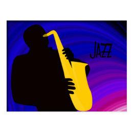 Silhouette of a jazz player, blue & purple postcard