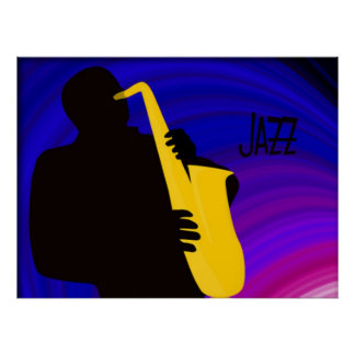 Silhouette of a jazz player, blue & purple posters