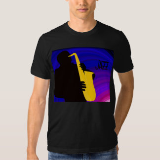 Silhouette of a jazz player, blue & purple shirt