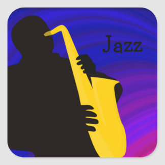 Silhouette of a jazz player, blue & purple square sticker