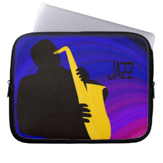 Silhouette of a jazz sax player, blue & purple computer sleeve