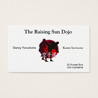 Silhouette of a Karate Fight, Red Sun Background Business Card