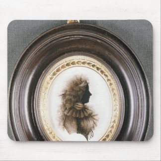 Silhouette of a lady, painted on convex glass mouse pad