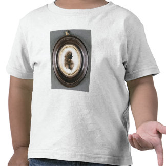 Silhouette of a lady, painted on convex glass tee shirt