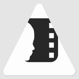 Silhouette of a lady's face on a filmstrip triangle stickers