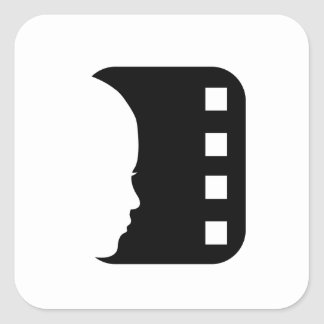 Silhouette of a lady's face on a filmstrip square stickers