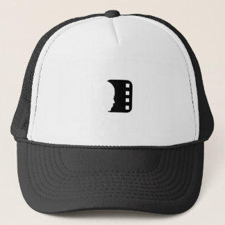 Silhouette of a lady's face on a filmstrip trucker hat