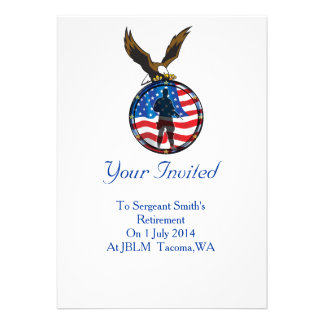 Silhouette of a lone Soldier retirement Personalized Announcement
