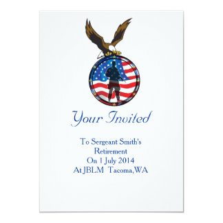 "Silhouette of a lone Soldier retirement 5"" X 7"" Invitation Card"
