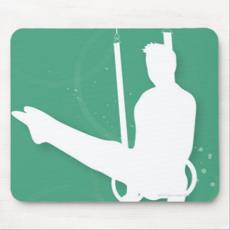 Silhouette of a man performing gymnastics mouse pad