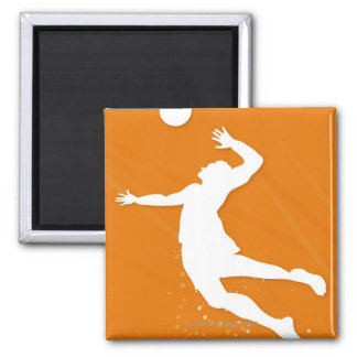 Silhouette of a man playing volleyball magnet