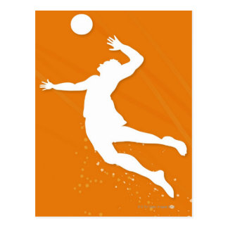 Silhouette of a man playing volleyball postcard