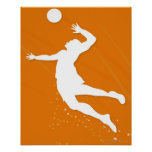 Silhouette of a man playing volleyball print