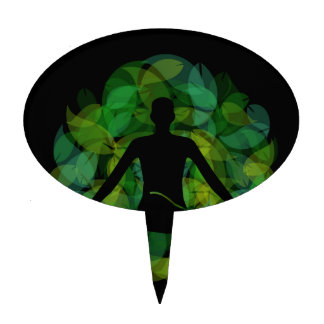 Silhouette of a meditating person cake topper