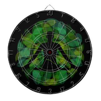 Silhouette of a meditating person dartboard with darts