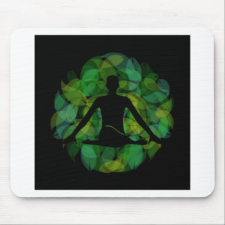 Silhouette of a meditating person mouse pad
