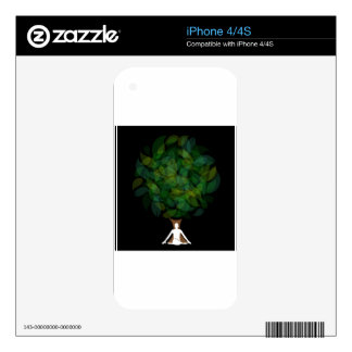 Silhouette of a meditating person or a person iPhone 4 decals