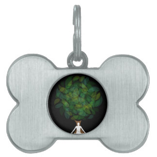 Silhouette of a meditating person or a person pet name tag
