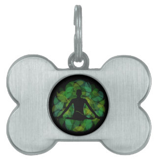 Silhouette of a meditating person pet tag