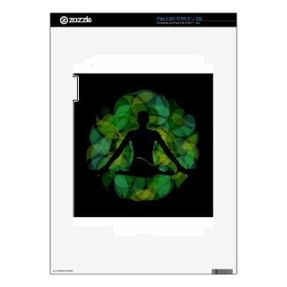 Silhouette of a meditating person skins for the iPad 2