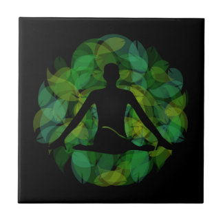 Silhouette of a meditating person tile