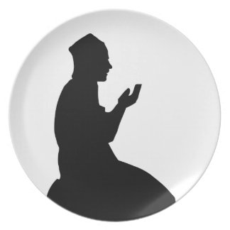 Silhouette of a Muslim praying man Plate