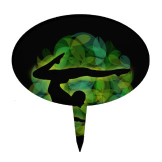 Silhouette of a person doing gymnastics or yoga cake topper
