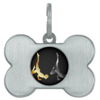 Silhouette of a person in advanced yoga pose pet tag