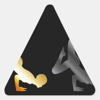 Silhouette of a person in advanced yoga pose triangle sticker