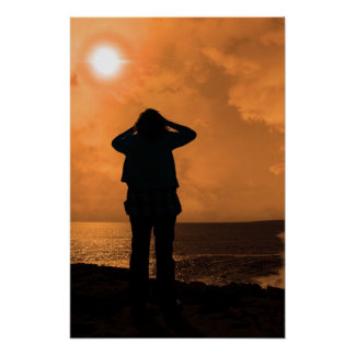 silhouette of a sad lone woman on a cliff edge poster