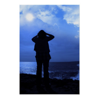 silhouette of a sad lone woman on cliff edge poster