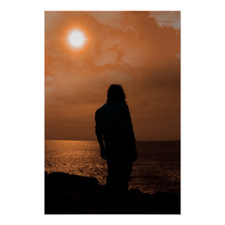 silhouette of a sad lone woman on irish cliff edge poster