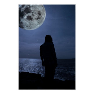 silhouette of a sad lone woman with a full moon poster