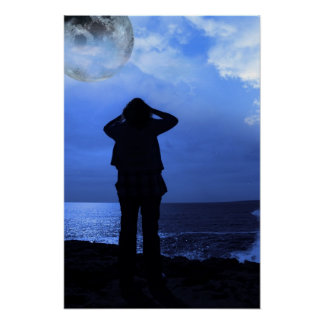 silhouette of a sad lone woman with full moon poster
