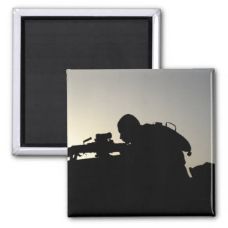 Silhouette of a Squad Automatic Weapon gunner 2 Inch Square Magnet