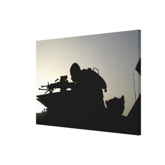 Silhouette of a Squad Automatic Weapon gunner Canvas Print