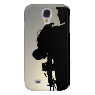 Silhouette of a Squad Automatic Weapon gunner Galaxy S4 Cover